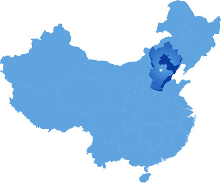 hebei province: Map of Peoples Republic of China where Hebei province is pulled out