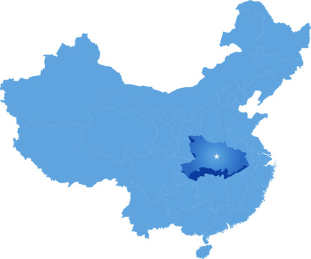 Map of Peoples Republic of China where Hubei province is pulled out Illustration