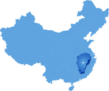 people's republic of china: Map of Peoples Republic of China where Jiangxi province is pulled out Illustration