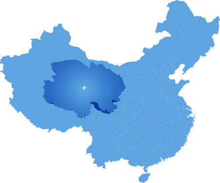pulled: Map of Peoples Republic of China where Qinghai province is pulled out Illustration