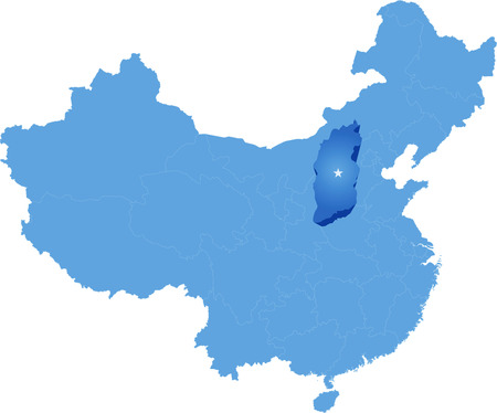 the republic of china: Map of Peoples Republic of China where Shanxi province is pulled out Illustration