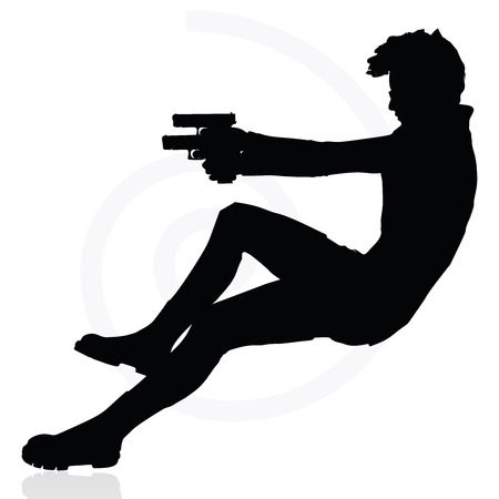 assassination: Vector Image - man with a gun pointing silhouette isolated on white background
