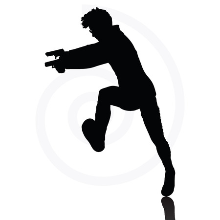 woman standing back: Vector Image - man with a gun pointing silhouette isolated on white background