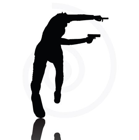 Imagen Vector - hombre con una pistola apuntando silueta aislados sobre fondo blanco