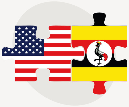 kampala: Vector Image - USA and Uganda Flags in puzzle  isolated on white background Illustration