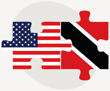 trinidad: Vector Image - USA and Trinidad and Tobago Flags in puzzle  isolated on white background