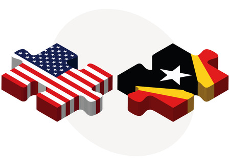 timor: Vector Image - USA and Timor-Leste Flags in puzzle  isolated on white background