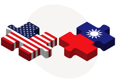 taiwanese: Vector Image - USA and Taiwan Flags in puzzle  isolated on white background