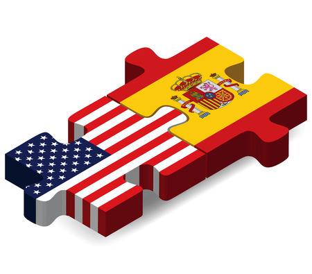 Vector Image - USA and Spain Flags in puzzle isolated on white background Çizim