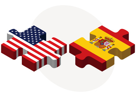 kingdom of spain: Vector Image - USA and Spain Flags in puzzle isolated on white background Illustration