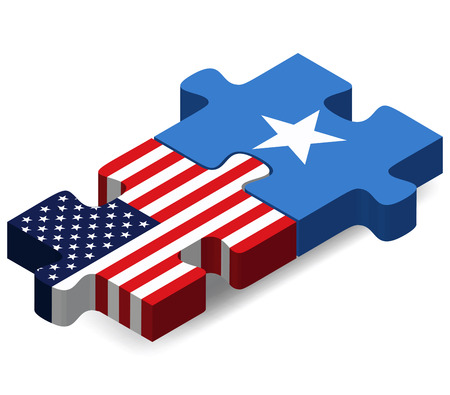 somalis: Vector Image - USA and Somali Flags in puzzle isolated on white background Illustration