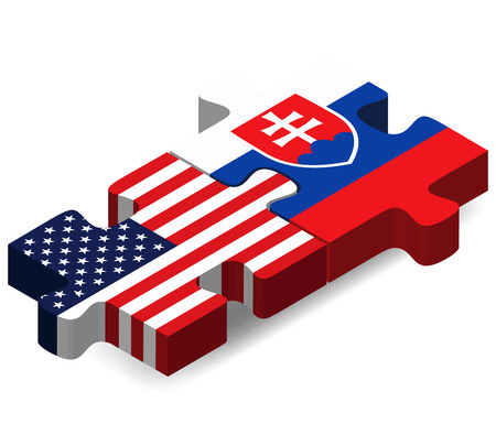 slovakian: Vector Image - USA and Slovakia Flags in puzzle isolated on white background