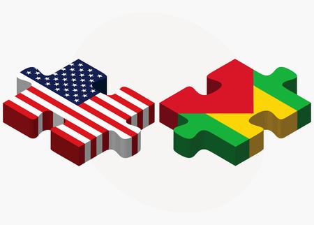 principe: Imagen Vector - los EEUU y Santo Tom� y Pr�ncipe Banderas en rompecabezas aislados sobre fondo blanco Vectores