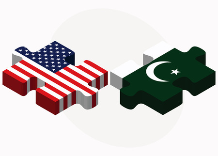 islamabad: Vector Image - USA and Pakistan Flags in puzzle isolated on white background Illustration