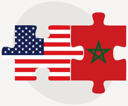 Imagen Vector - Estados Unidos y Marruecos Banderas de rompecabezas aislados sobre fondo blanco