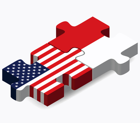 monegasque: Vector Image - USA and Monaco Flags in puzzle isolated on white background
