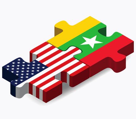 ベクトル画像 - アメリカ、ミャンマーのフラグ パズルに孤立した白い背景
