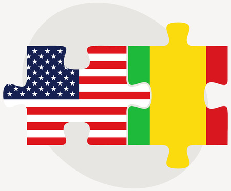 malibu: Vector Image - USA and Mali Flags in puzzle isolated on white background