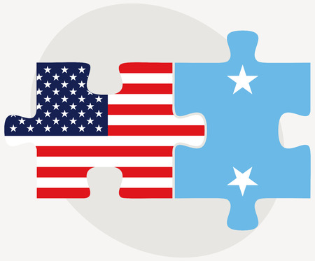 micronesia: Vector Image - USA and Micronesia Flags in puzzle isolated on white background Illustration