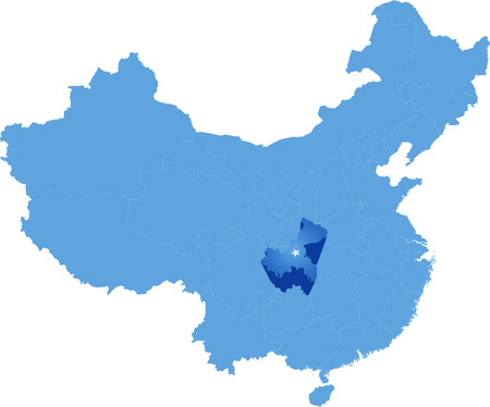 people's republic of china: Map of Peoples Republic of China where Chongqing Municipality province is pulled out Illustration