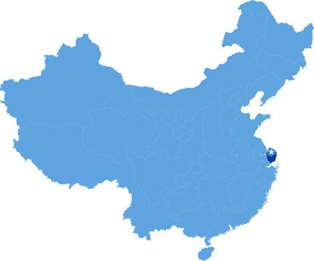 上海市の県を抜いて中国の人民共和国の地図  イラスト・ベクター素材