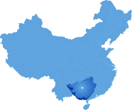 Map of Peoples Republic of China where Guangxi Zhuang Autonomous Region province is pulled out
