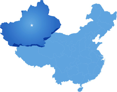 people's republic of china: Map of Peoples Republic of China where Xinjiang Uyghur Autonomous Region province is pulled out Illustration