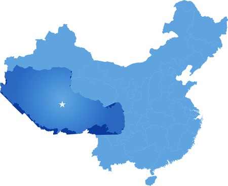tibet: Map of Peoples Republic of China where Tibet Autonomous Region province is pulled out