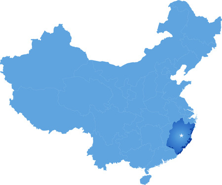 people's republic of china: Map of Peoples Republic of China where Fujian province is pulled out