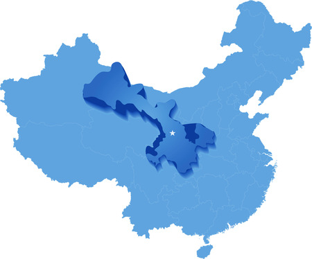 people's republic of china: Map of Peoples Republic of China where Gansu province is pulled out