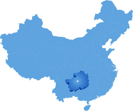 municipalit�: Map of Peoples Republic of China where Guizhou province is pulled out Illustration