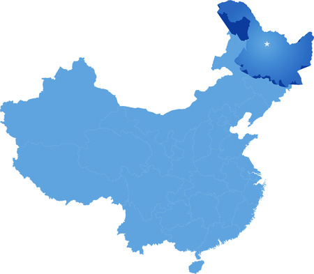 the republic of china: Map of Peoples Republic of China where Heilongjiang province is pulled out Illustration