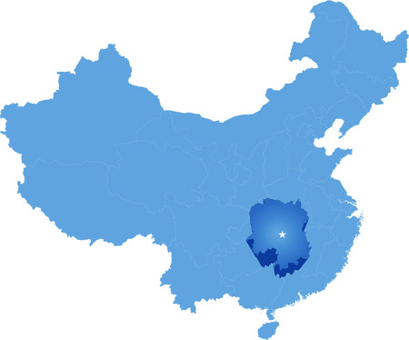 peoples: Map of Peoples Republic of China where Hunan province is pulled out