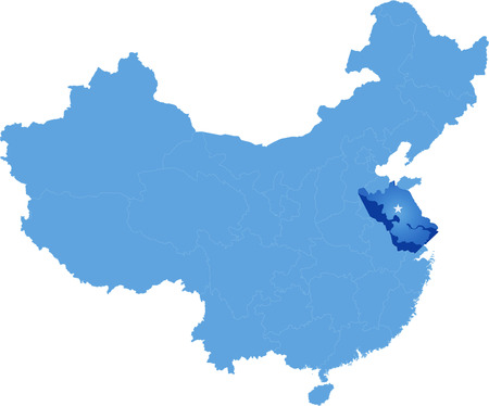 peoples: Map of Peoples Republic of China where Jiangsu province is pulled out