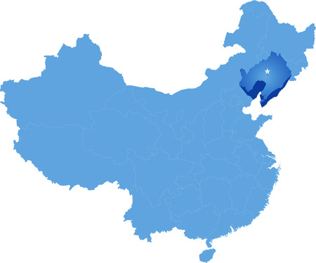 people's republic of china: Map of Peoples Republic of China where Liaoning province is pulled out