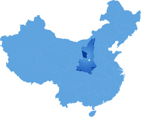 people's republic of china: Map of Peoples Republic of China where Shaanxi province is pulled out