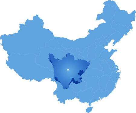 people's republic of china: Map of Peoples Republic of China where Sichuan province is pulled out Illustration