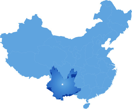 people's republic of china: Map of Peoples Republic of China where Yunnan province is pulled out Illustration