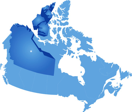 Map of Canada where Northwest Territory is pulled out Illustration