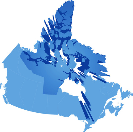 edmonton: Map of Canada where Nunavut Territory is pulled out Illustration