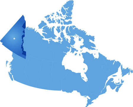 Map of Canada where Yukon Territory is pulled out Illustration