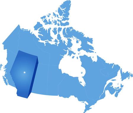 カナダ アルバータ州を抜いての地図