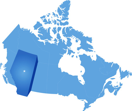 Map of Canada where Alberta province is pulled out Illustration
