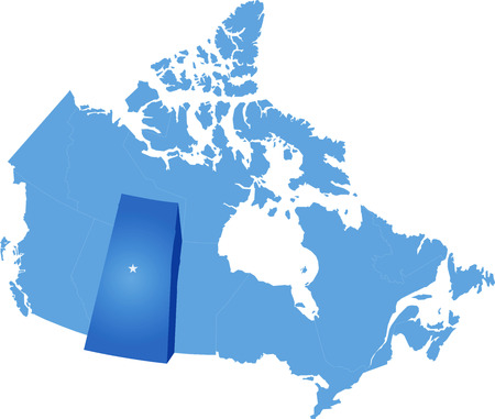 edmonton: Map of Canada where Saskatchewan province is pulled out