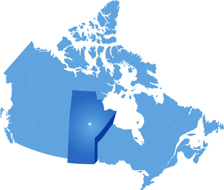 winnipeg: Map of Canada where Manitoba province is pulled out