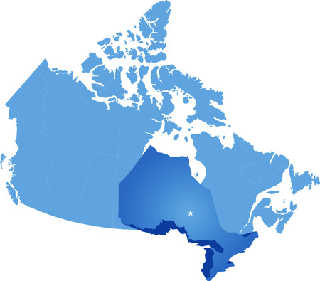 ontario: Map of Canada where Ontario province is pulled out Illustration