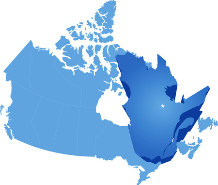 quebec: Map of Canada where Quebec province is pulled out