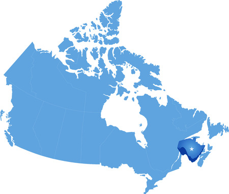 Map of Canada where New Brunswick province is pulled out Vector