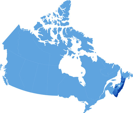 john: Map of Canada where Nova Scotia province is pulled out Illustration