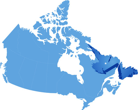 newfoundland: Map of Canada where Newfoundland and Labrador province is pulled out